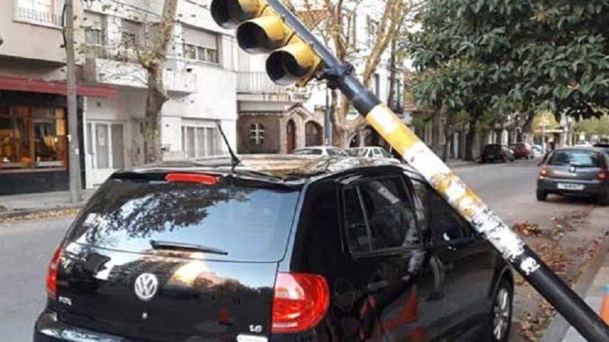 semáforo cae sobre auto